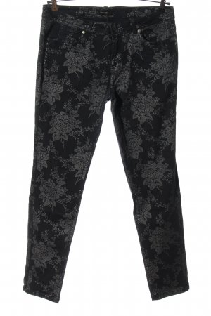 Woman by Tchibo Tube Jeans black-silver-colored flower pattern wet-look