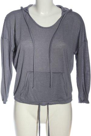 Women's Secret Top à capuche gris clair-blanc motif rayé style décontracté