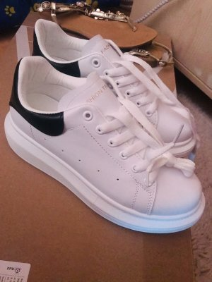 Womens White Leather Platform Sneakers Flat