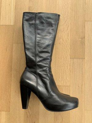 Wonders Stiefel Leder Langschaft Plateau & Absatz schwarz Gr 40
