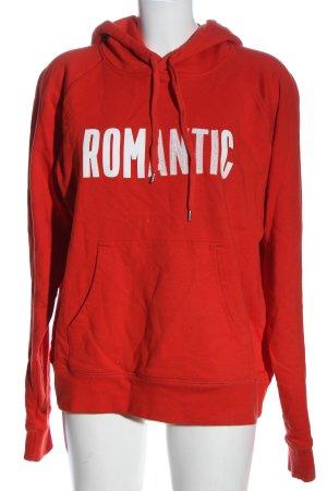 Wood Wood Hooded Sweatshirt red-white printed lettering casual look