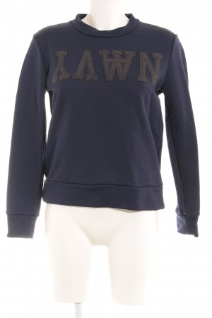 Wood Wood Crewneck Sweater dark blue embroidered lettering simple style