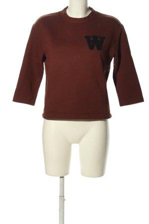 Wood Wood Sweat Shirt brown printed lettering casual look