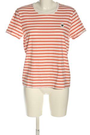 Wood Wood T-Shirt weiß-hellorange Streifenmuster Casual-Look
