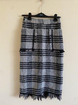 Wool Blend Checked Midirock