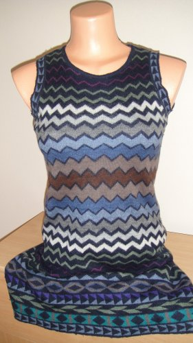 Reverse Long Knitted Vest multicolored cashmere