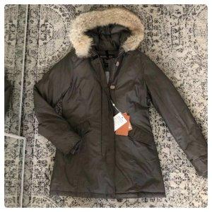Woolrich Arctic Parka Daunen Mantel Jacke Pelz Khaki Grau