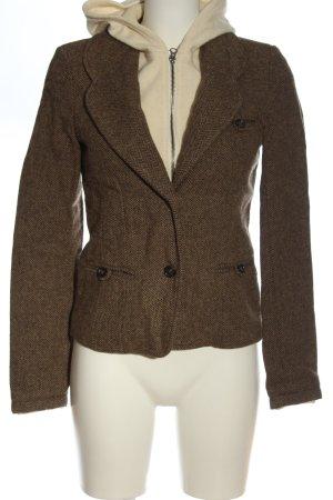 Woolrich Veste double brun-crème Motif de tissage style décontracté