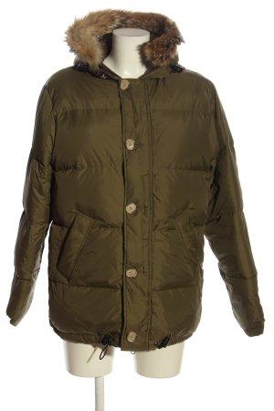 Woolrich Veste à capuche brun-kaki motif de courtepointe style décontracté