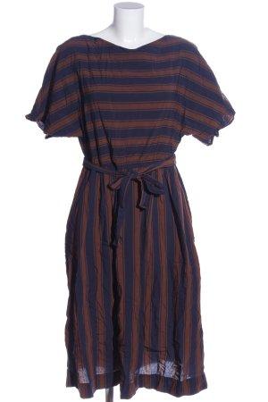 Woolrich Abito a maniche corte blu-marrone motivo a righe stile casual