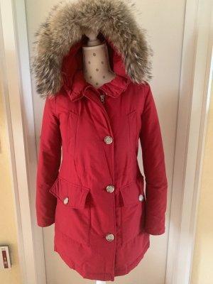 Woolrich Futrzany płaszcz czerwony