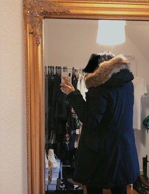 Woolrich schwarze Winterjacke original Arctic Parka Echtfell XS