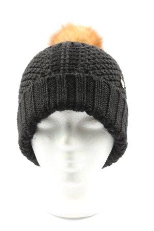 Woolrich Chapeau en tricot noir-orange clair style décontracté