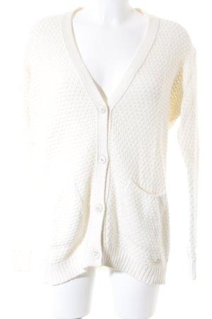 Woolrich Gilet tricoté blanc cassé motif tricoté lâche style décontracté