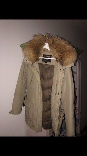 Woolrich Futrzana kurtka kremowy-jasnobeżowy