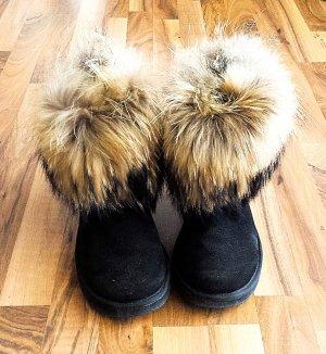 Futrzane buty Wielokolorowy Skóra