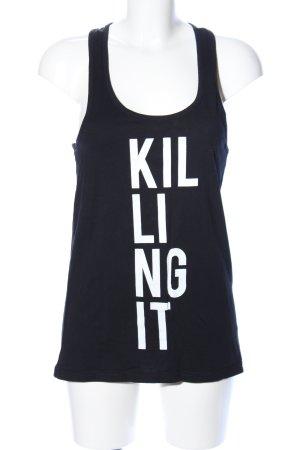 Worst Behavior Halter Top black-white printed lettering casual look