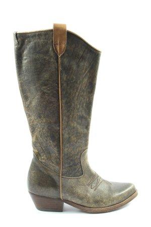 Wosh Boots western kaki-crème moucheté style décontracté