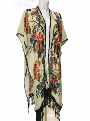 Woven Heart Damen Poncho Tuch Schal Cover Up L