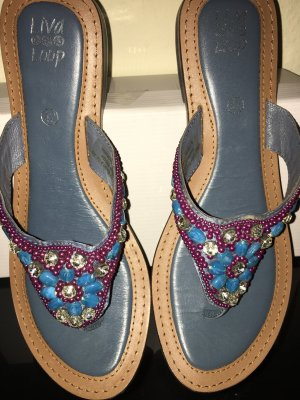 Liva Loop High-Heeled Toe-Post Sandals pink-steel blue