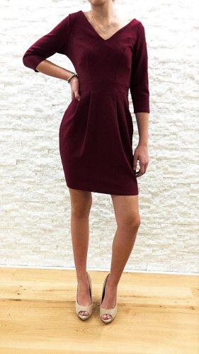 WOW! Kurzes, beerenfarbenes 3/4 Arm Kleid mit 3D Struktur von Closet London, Gr.36