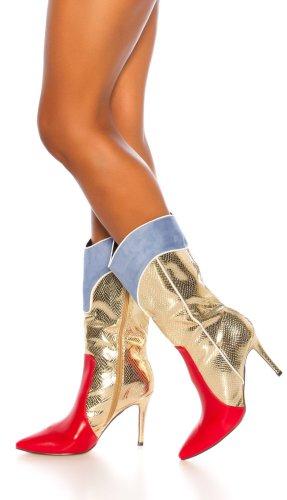 WOW! SeXy Cowgirl Stiefeletten Stiefel Red Rot Gold - Heels Größe 37 - HOT