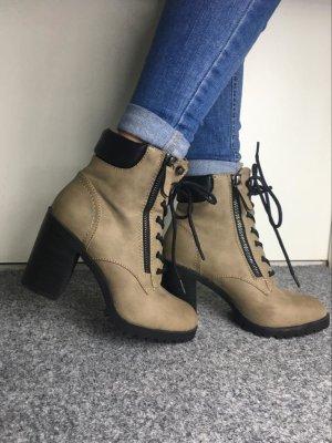 Wow! Stiefeletten Absatz Plateau Schnür Schuhe Boots 37