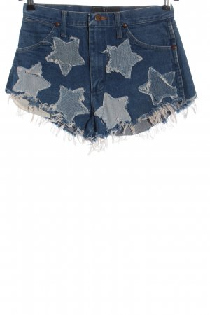 Wrangler Jeansshorts blau Motivdruck Casual-Look