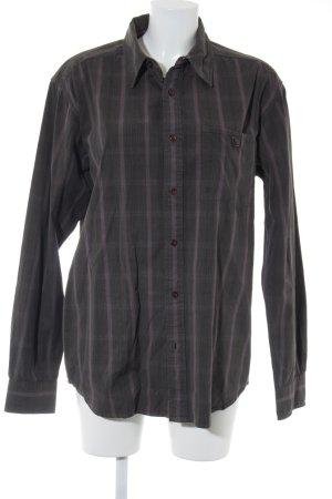 Wrangler Langarmhemd braunviolett-dunkelgrau Streifenmuster Casual-Look