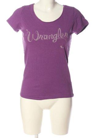 Wrangler Koszulka z nadrukiem fiolet-w kolorze białej wełny Wydrukowane logo