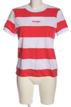 Wrangler Ringelshirt weiß-rot Streifenmuster Casual-Look