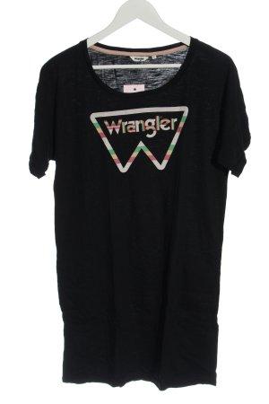 Wrangler Robe t-shirt noir-blanc imprimé avec thème style décontracté