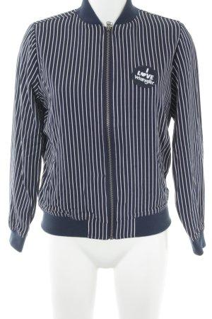 Wrangler Veste sweat blanc-bleu foncé motif rayé style athlétique