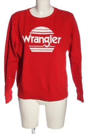 Wrangler Bluza dresowa czerwony-biały Wydrukowane logo W stylu casual