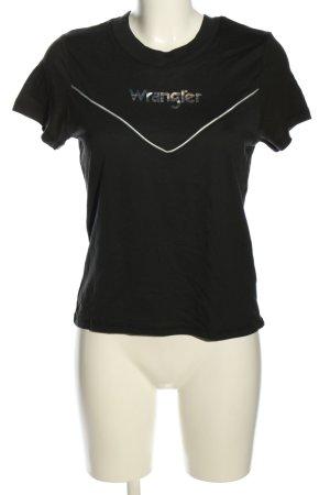Wrangler T-Shirt schwarz-blau Schriftzug gedruckt Casual-Look