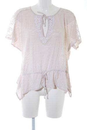 Wrap Kurzarm-Bluse hellbeige klassischer Stil