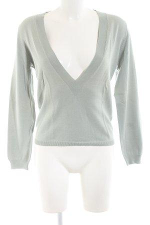 Wrap V-Ausschnitt-Pullover hellgrau Casual-Look