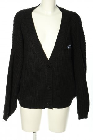 WRSTBHVR Coarse Knitted Jacket black-white printed lettering casual look