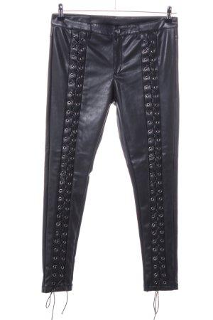 WRSTBHVR Pantalon en cuir noir style décontracté