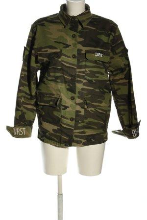 WRSTBHVR Militair jack bruin-groen camouflageprint casual uitstraling