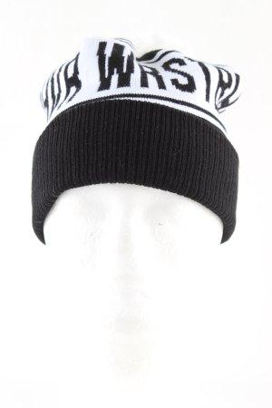 WRSTBHVR Strickmütze schwarz-weiß Schriftzug gedruckt Casual-Look