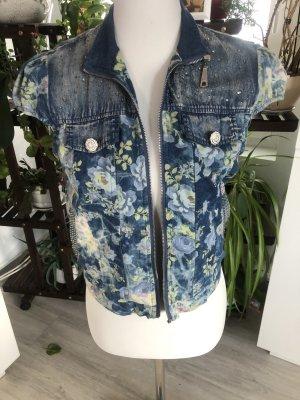 Gilet en jean bleuet-blanc