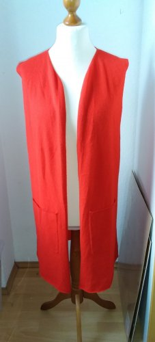 Hess Natur Long Knitted Vest red wool