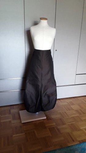 D. Exterior Maxi Skirt black brown silk