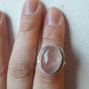 Wunderchöner Ring mit Rosenquarz  aus Indien, Gr. 16