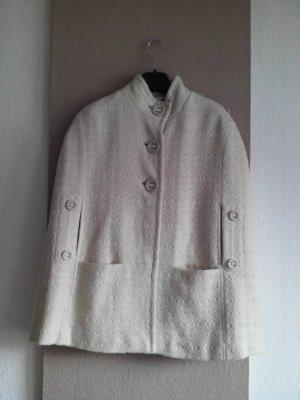wunderchönes tweed Cape mit Knöpfe, creme-beige aus 78% Wolle, Grösse M
