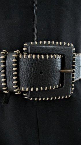 Wunderkind Leather Belt black-oatmeal leather