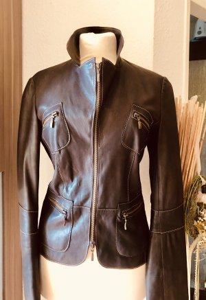 Wunderschön kurz taillierter braune Echte Lederjacke -Größe 34 - 36