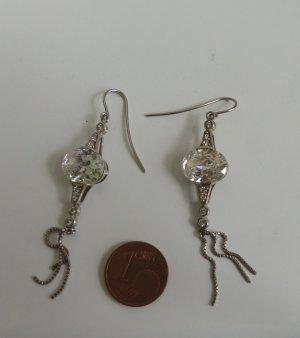 wunderschöne 925 Sterling Ohrringe funkelnd Tropfen Silber