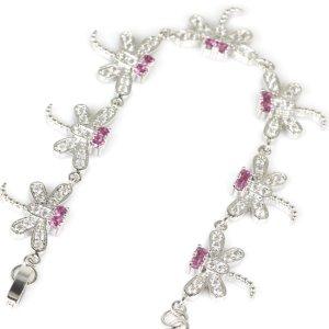 925 Braccialetto in argento argento-rosa Tessuto misto